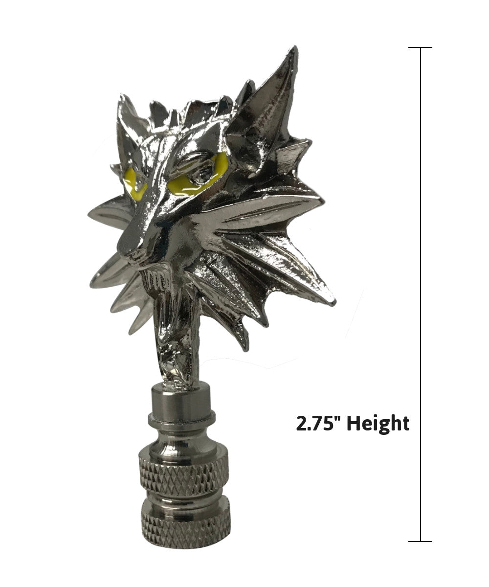 "3""H Wolf Head Lamp Finial Brushed Nickel Base"