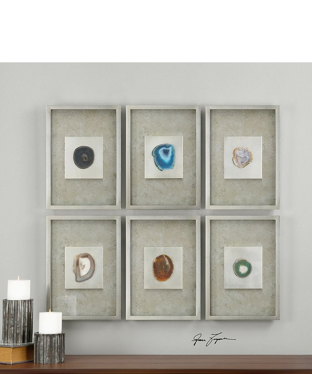 "20""H x 14""W Agate Stone Silver Wall Art Set of 6"