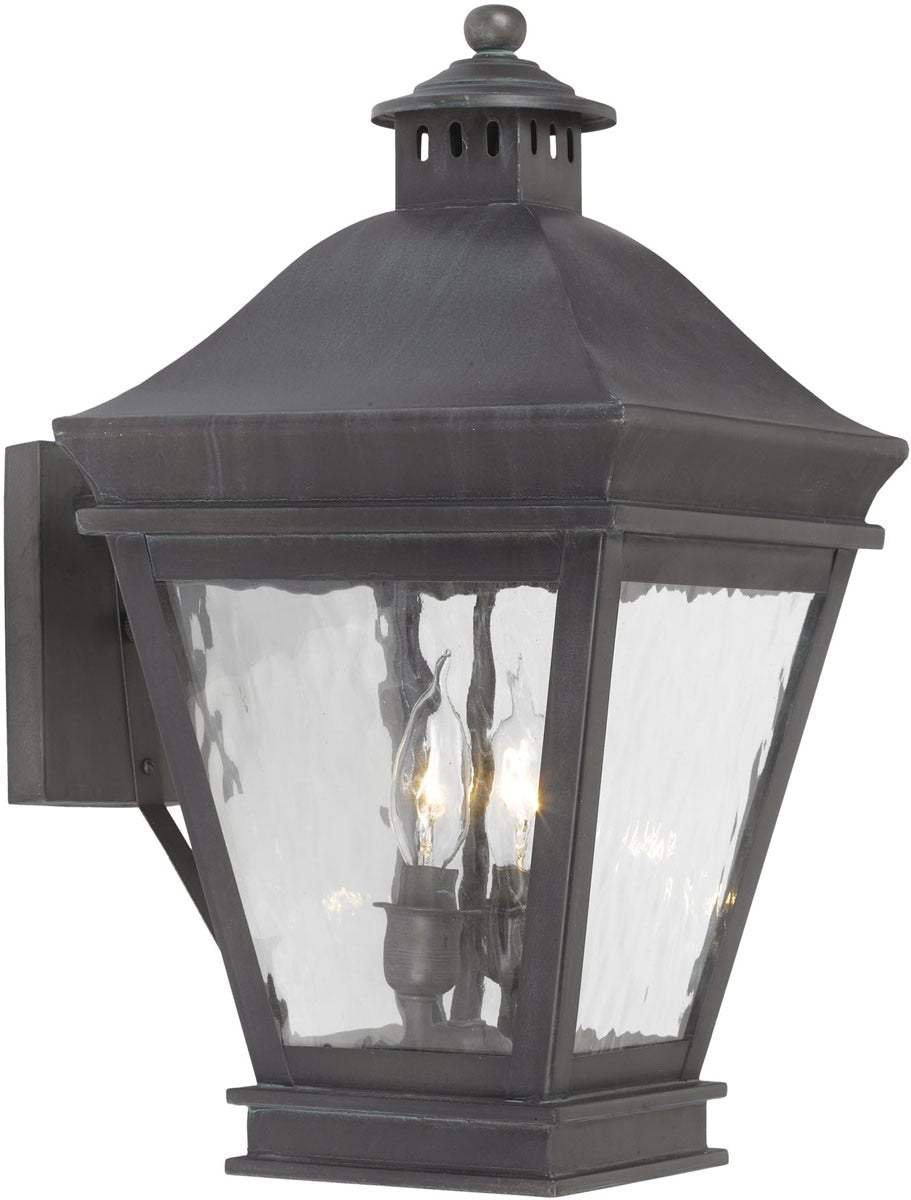 "17""H Landings Outdoor Wall Lantern Charcoal/Water Glass"