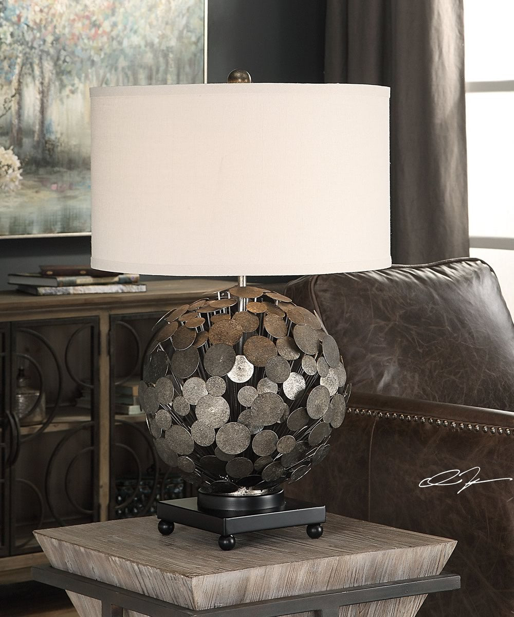 "27""H Callisto Steel Disk Table Lamp"