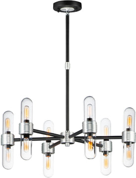 "26""W Dual 12-Light Chandelier Black / Brushed Aluminum"