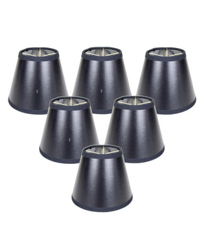 "5""W x 4""H Set of 6 Black Parchment Silver-Lined Chandelier Lampshade"