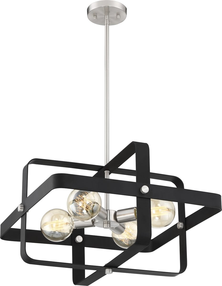 "20""W Prana 4-Light Pendant Matte Black / Brushed Nickel"