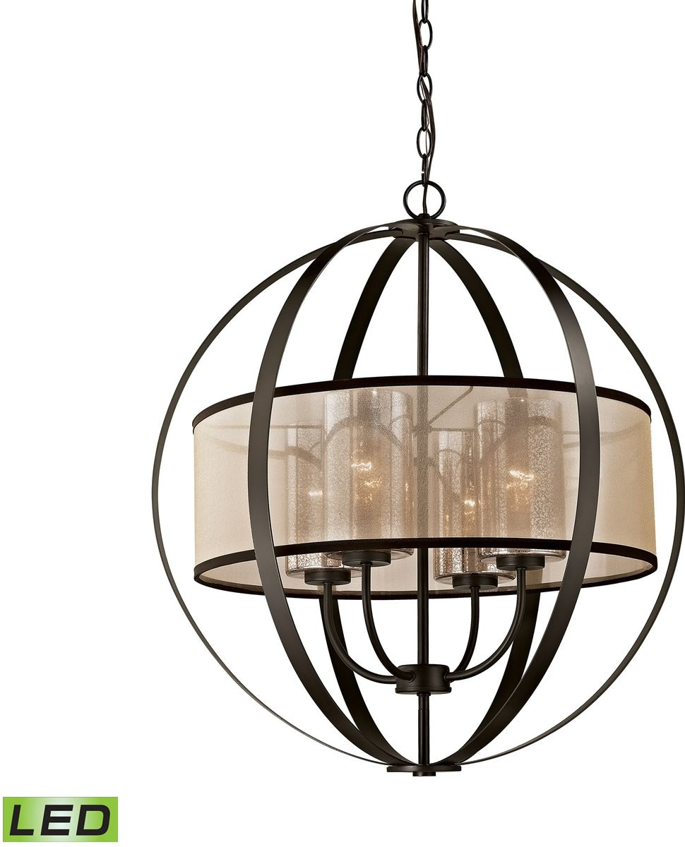 "24""W Diffusion 4-Light LED Chandelier Oil Rubbed Bronze"