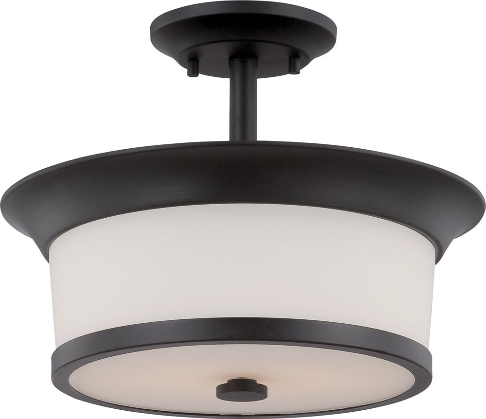 "13""W Mobili 2-Light Close-to-Ceiling Aged Bronze / Satin White"