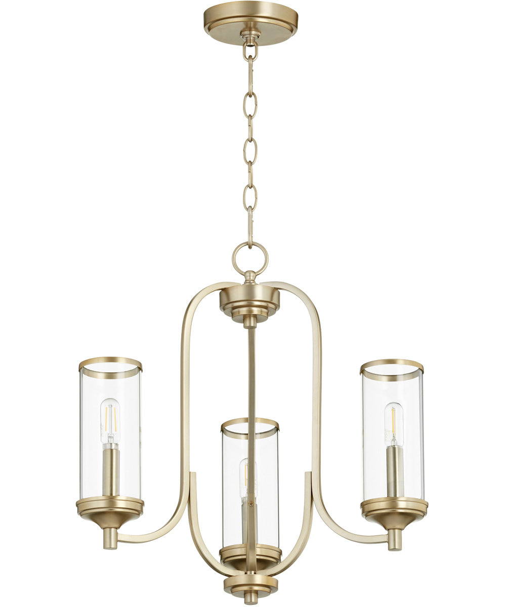 "19""W Collins 3-light Chandelier Aged Brass"