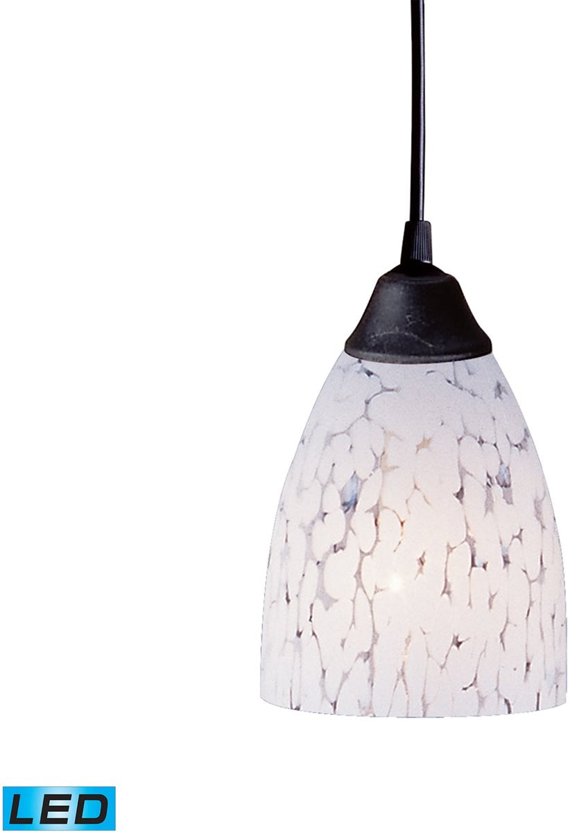 "5""W Classico 1-Light LED Pendant Dark Rust/Snow White Glass"