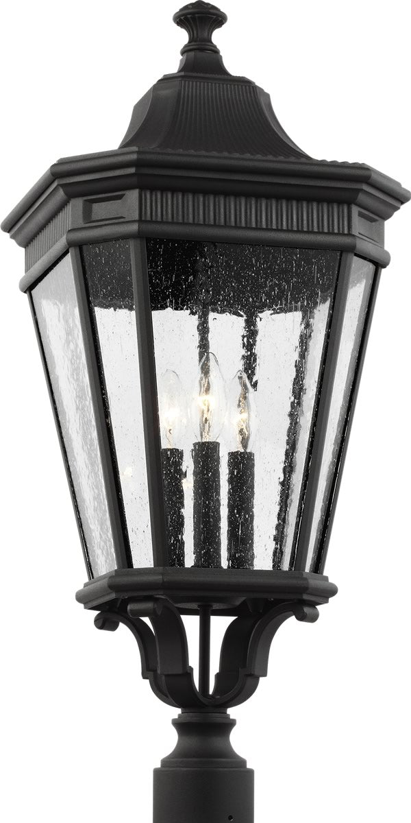 "27""H Cotswold Lane 3-Light Post Lantern Black"