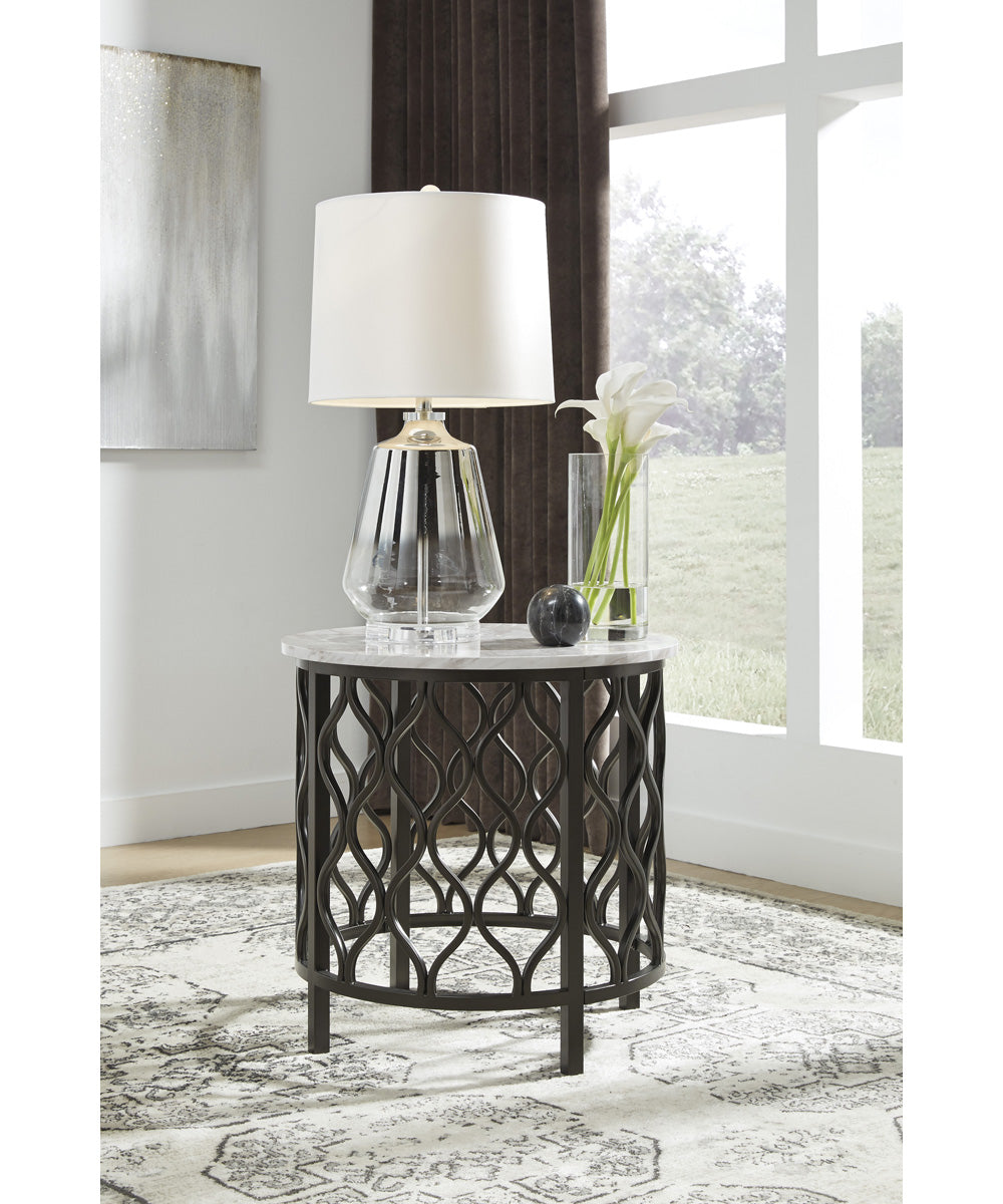 "24""H Trinson Round End Table Gray/Black"