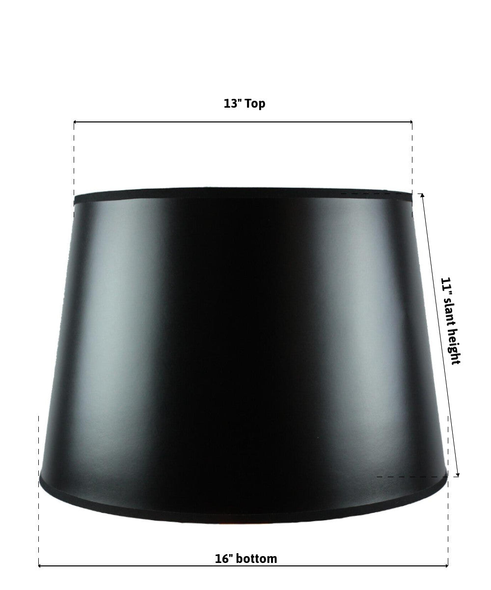 "16""W  x 11""H SLIP UNO FITTER Black Parchment Gold-Lined Floor Lampshade"