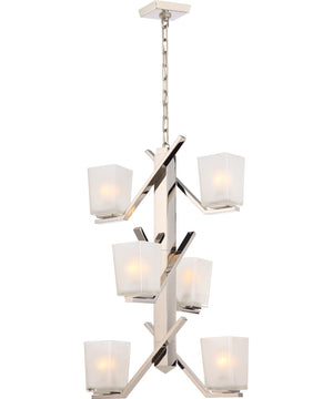 "19""W Timone 6-Light Pendant Polished Nickel"