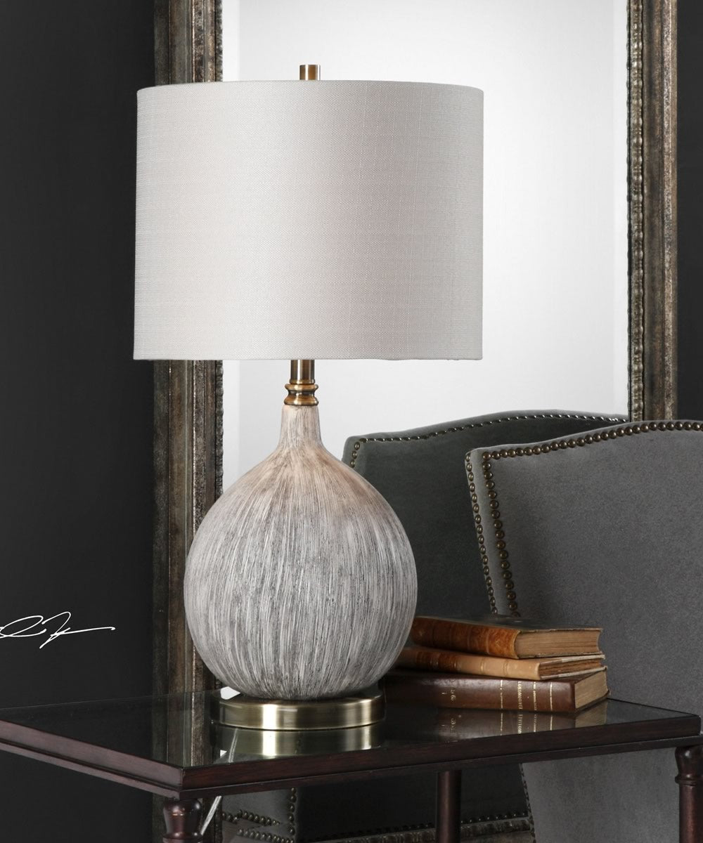 "27""H Hedera Textured Ivory Table Lamp"
