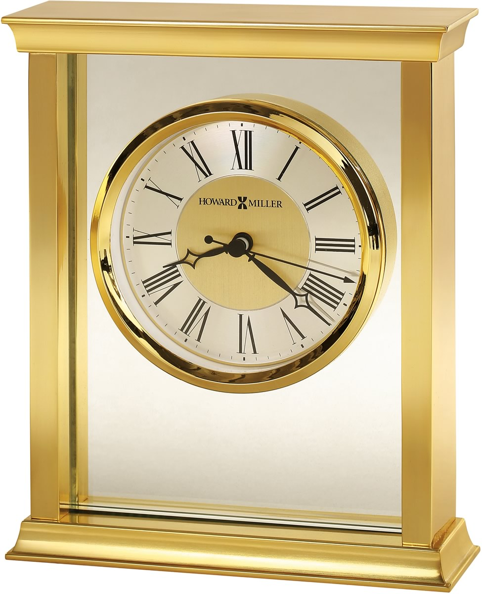 "7""H Monticello Tabletop Clock Polished Brass"