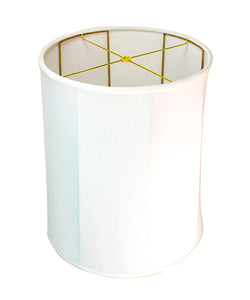 0-001213>15x16x19 Collapsible Drum White Linen Lampshade
