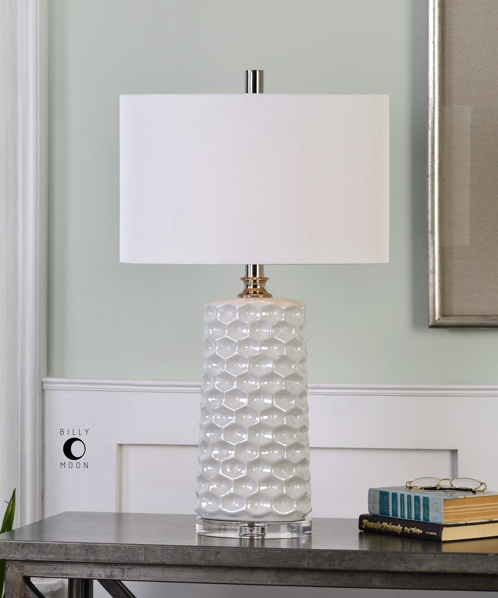 "30""H Sesia White Honeycomb Table Lamp"
