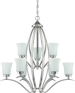 "32""W Northlake 9-Light Chandelier Satin Nickel"