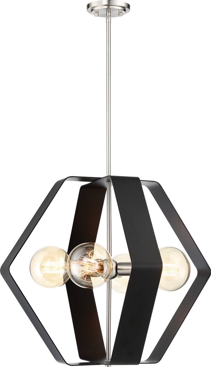 Zen 4-Light Pendant Matte Black / Brushed Nickel