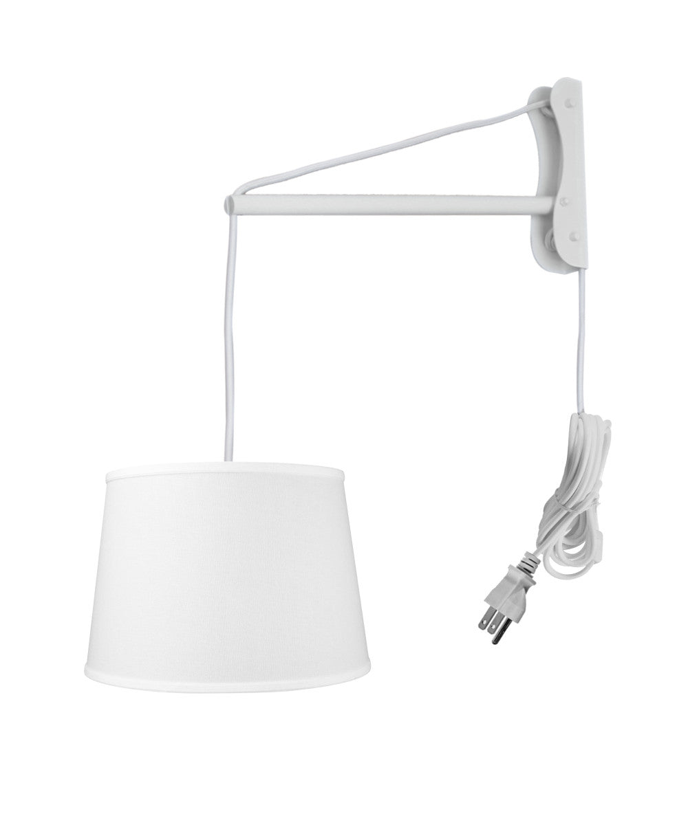 MAST Plug-In Wall Mount Pendant, 2 Light White Cord/Arm with Diffuser, White Linen Shade