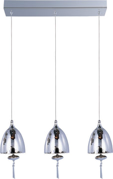 "18""W OPEN BOX  Chute Xenon 3-Light Linear Pendant Polished Chrome"