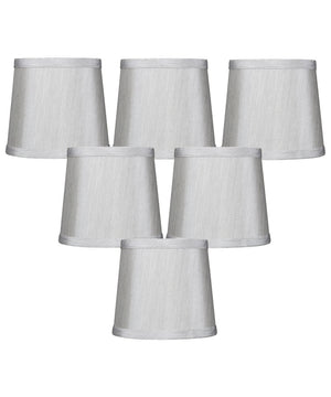 "6""W x 5""H Set of 6 Gray Drum Chandelier Clip-On Lampshade"