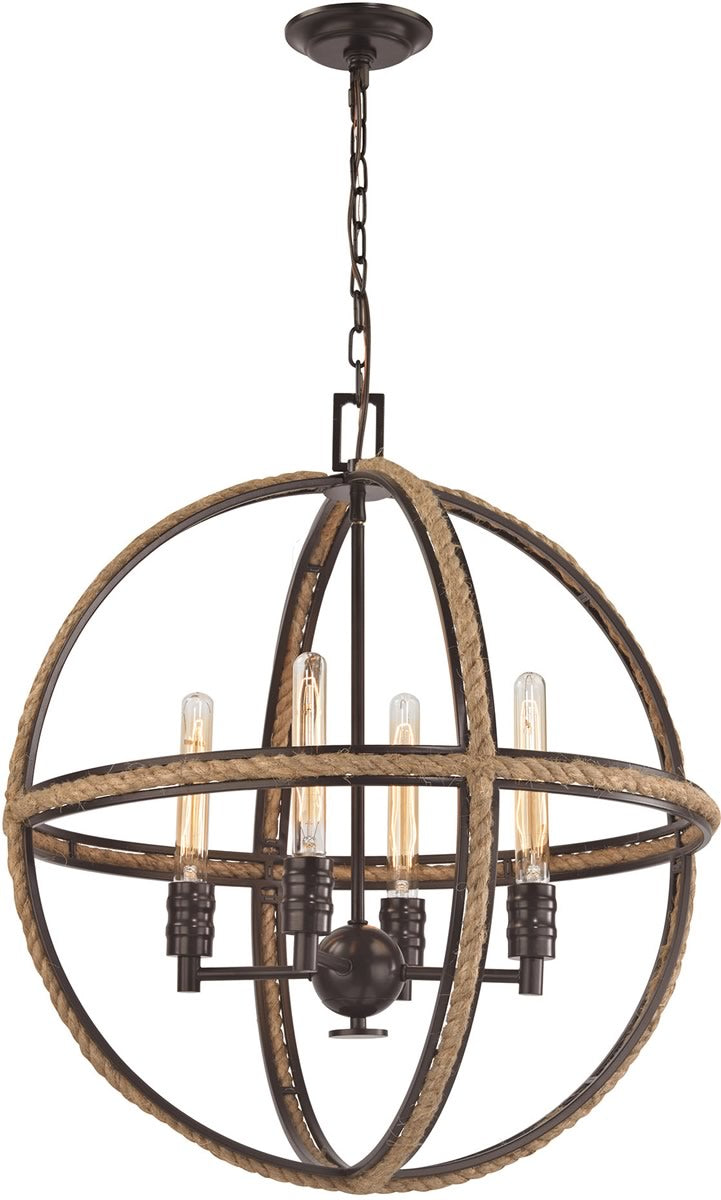 "24""W Natural Rope 4-Light Chandelier Oil Rubbed Bronze"
