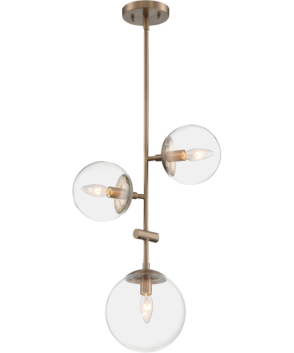 "15""W Sky 3-Light Pendant Burnished Brass"