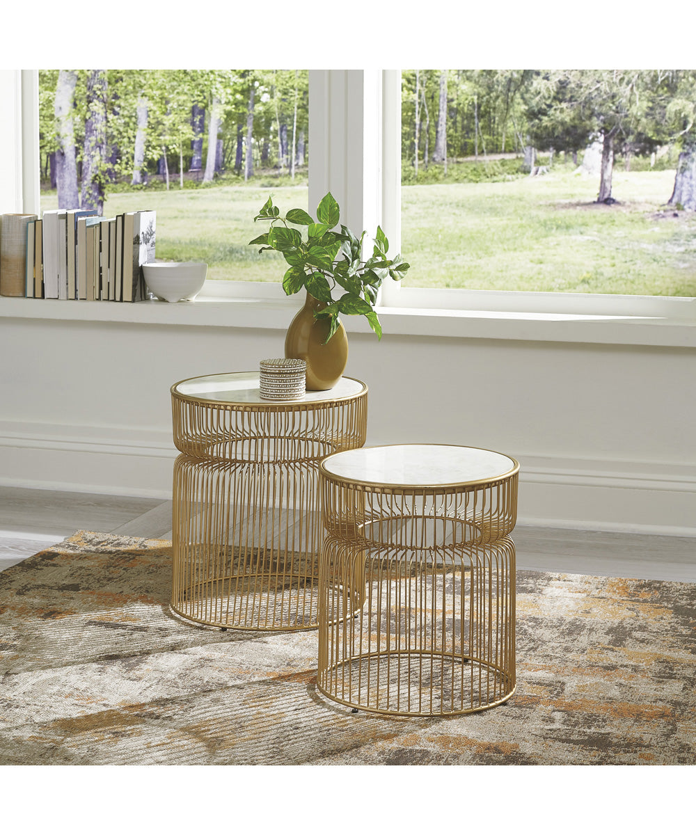 Vernway Accent Table Set of 2 White/Gold