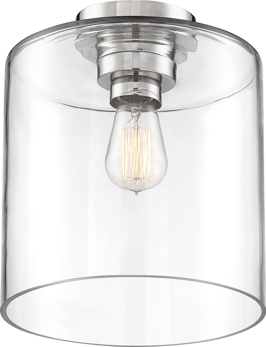 "10""W Chantecleer 1-Light Close-to-Ceiling Polished Nickel / Clear"