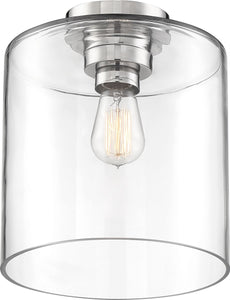 Chantecleer 1-Light Close-to-Ceiling Polished Nickel / Clear