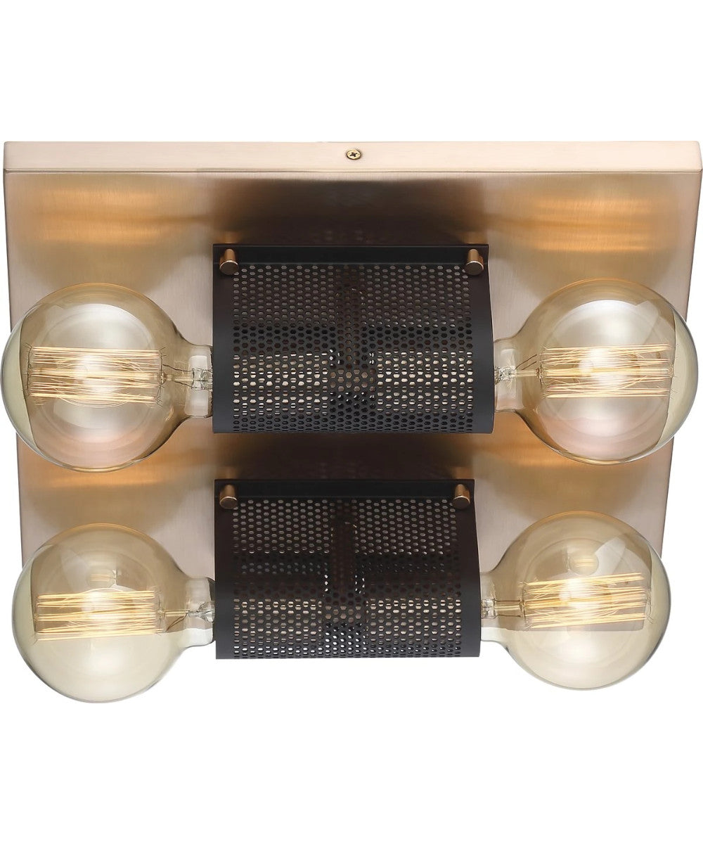 "14""W Passage 4-Light Close-to-Ceiling Copper Brushed Brass / Black"