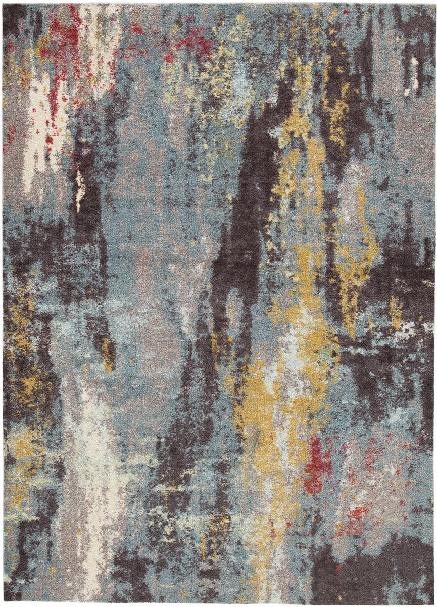 "96""W Quent Large Rug Blue/Gray/Yellow"