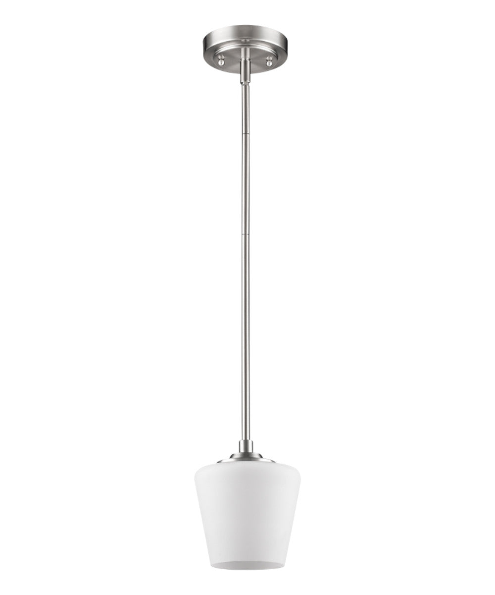 "6""W Paige 1-Light Satin Nickel Pendant With Frosted Glass Shade"