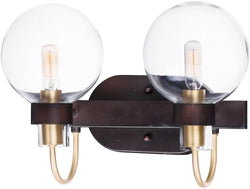 Bauhaus 2-Light Bath Vanity Bronze / Satin Brass
