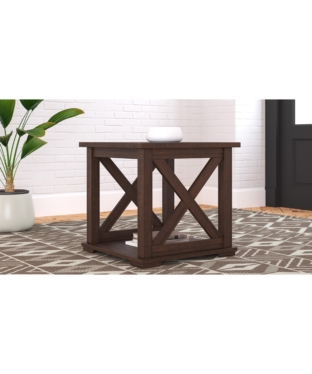"22""H Camiburg Square End Table Warm Brown"