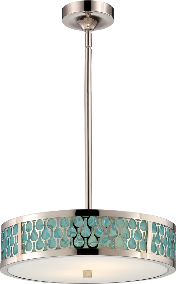 "15""W Raindrop 1-Light Pendant Polished Nickel"