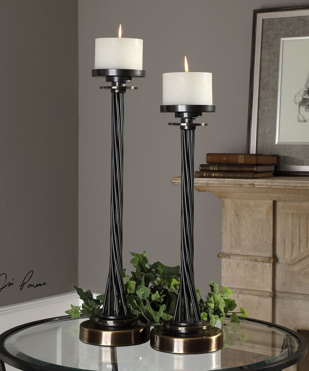 "25""H Kendra Twisted Black Candleholders Set of 2"