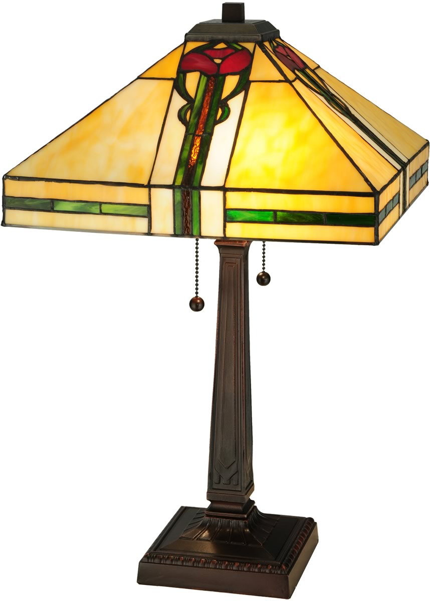"23""H Parker Poppy  2-Light Tiffany Table Lamp Brown"