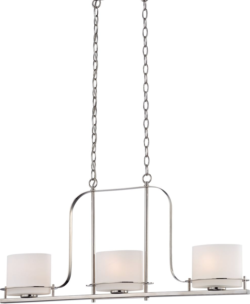 "36""W Loren 3-Light Pendant Polished Nickel"