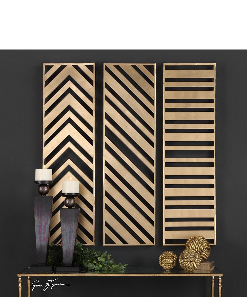 Zahara Gold Panels Set of 3
