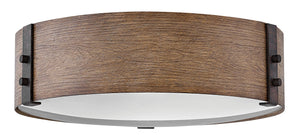 "15""W Sawyer 3-Light Outdoor Flush Mount in Sequoia"