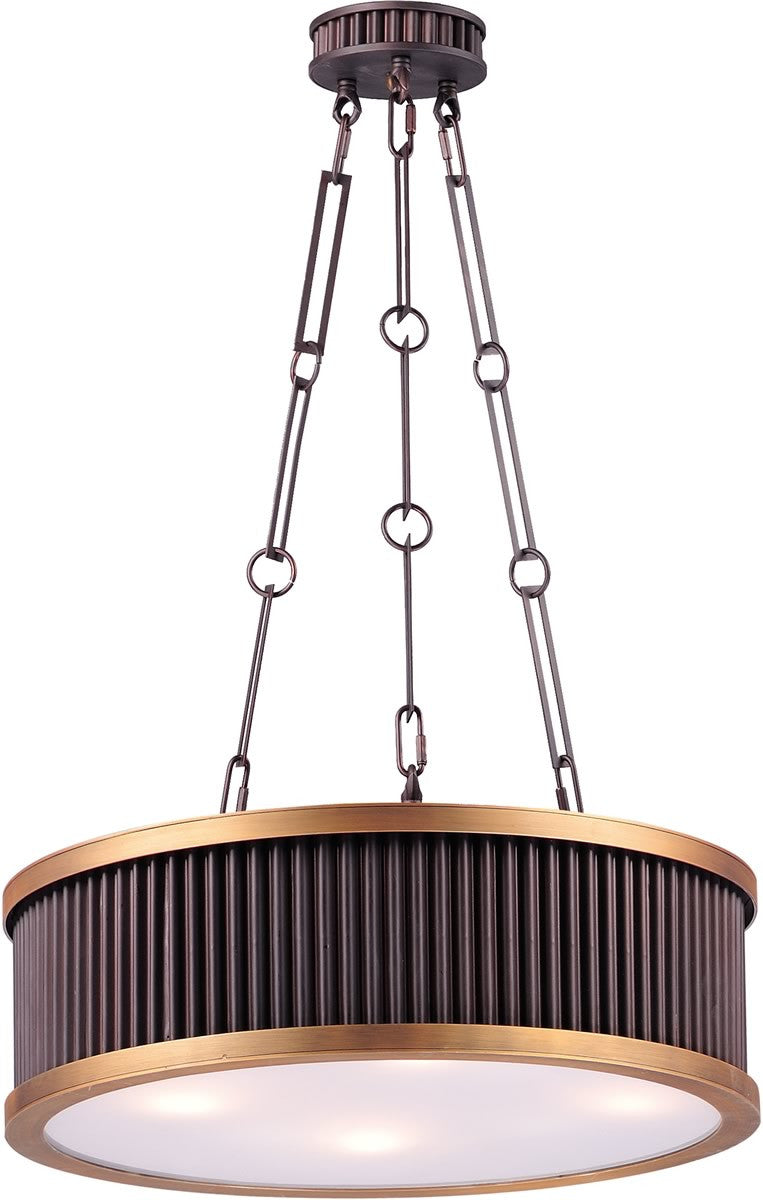 Ruffle 4-Light Pendant Oil Rubbed Bronze and Burnished Brass