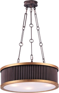 0-002195>Ruffle 4-Light Pendant Oil Rubbed Bronze and Burnished Brass