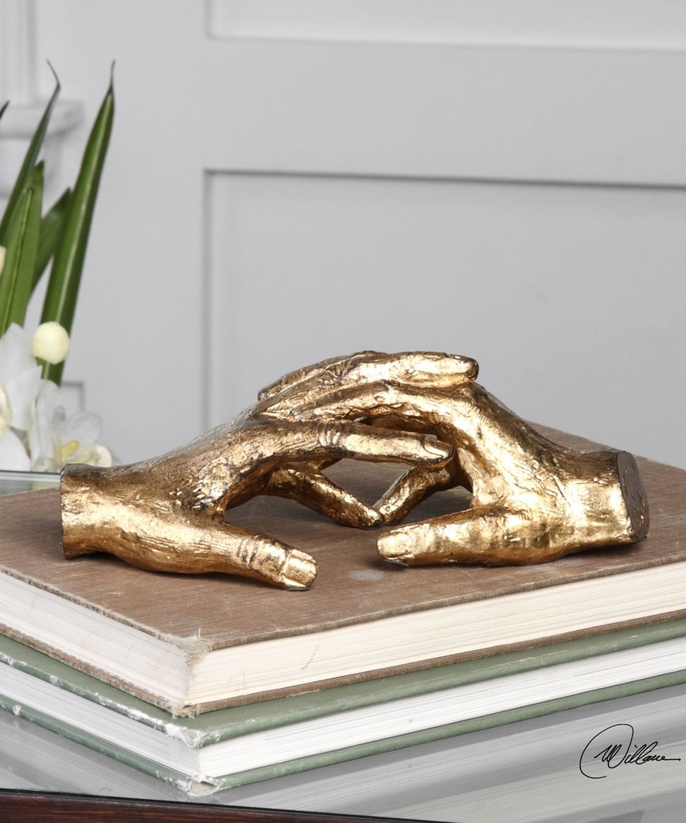 "3""H Hold My Hand Gold Sculpture"