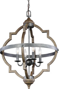 Socorro 4-Light Hall Foyer Pendant Stardust/Cerused Oak