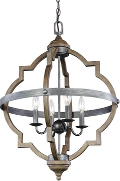 "21""W Socorro 4-Light Hall Foyer Pendant Stardust/Cerused Oak"