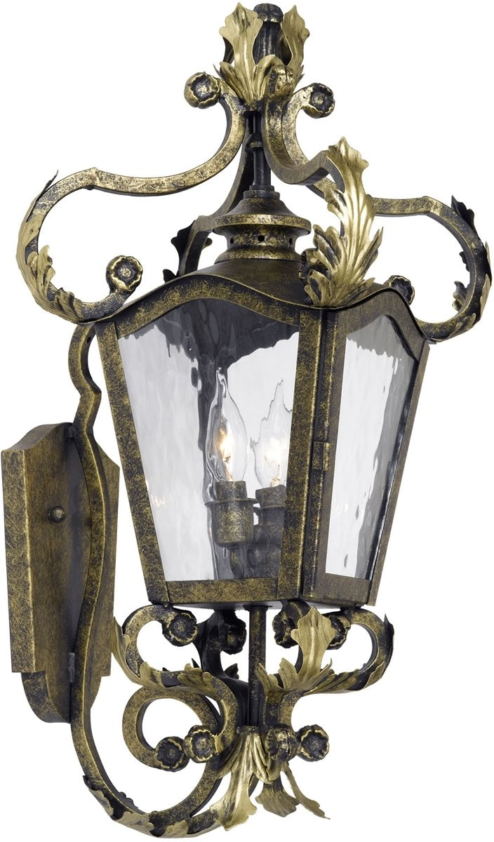 "24""H Acadiana Outdoor Wall Lantern Castle Bronze/Water Glass"