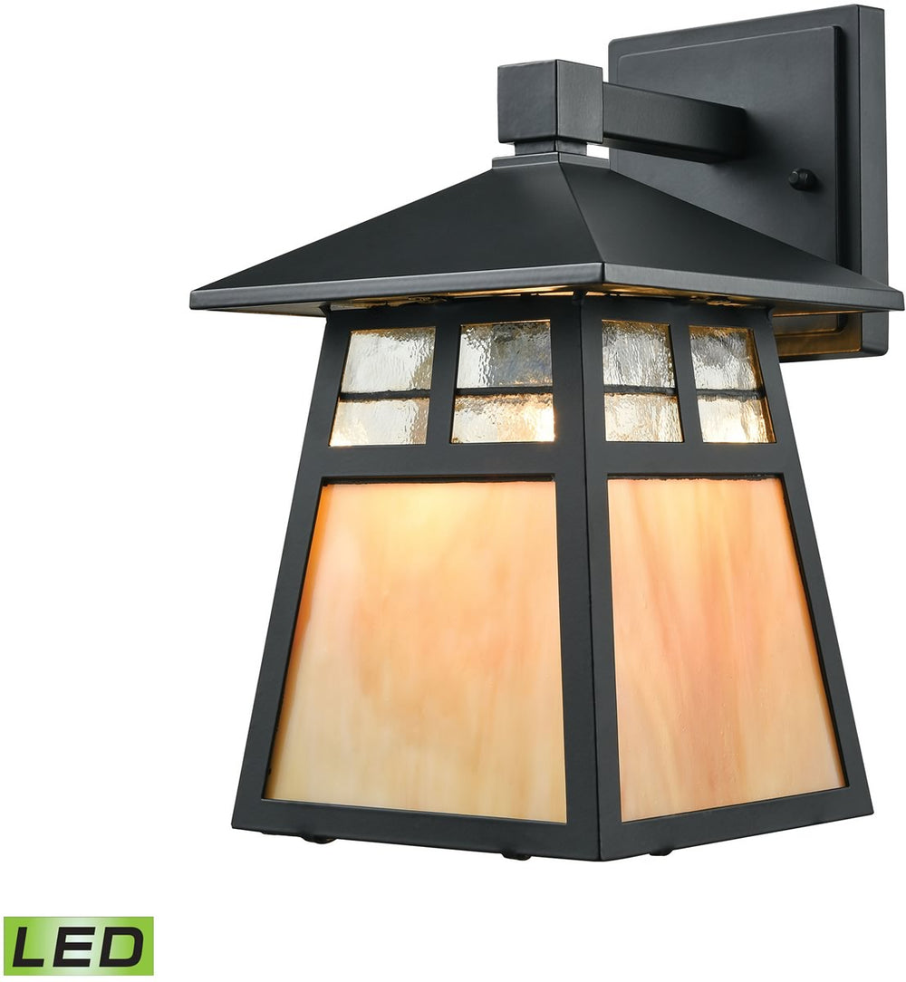 "11""H Cottage 1-Light LED Outdoor Wall Sconce Matte Black"