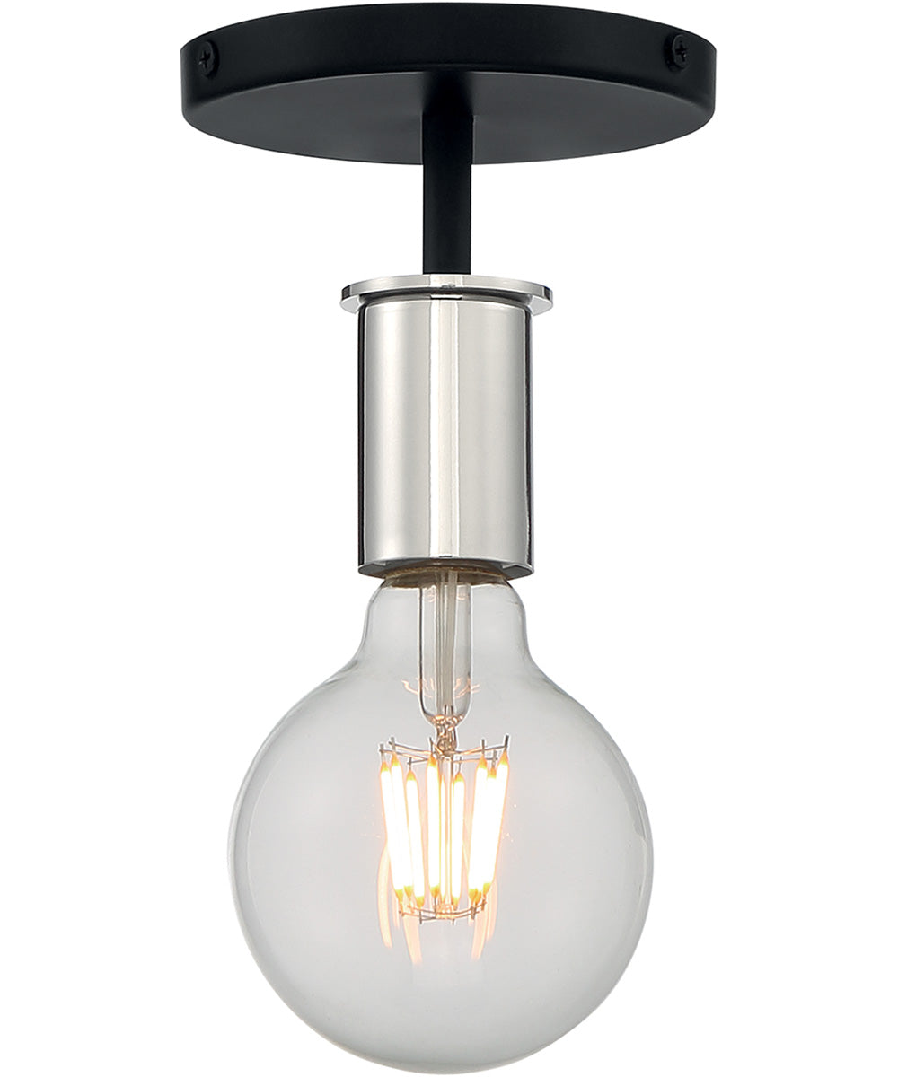 "5""W Ryder 1-Light Close-to-Ceiling Black / Polished Nickel"