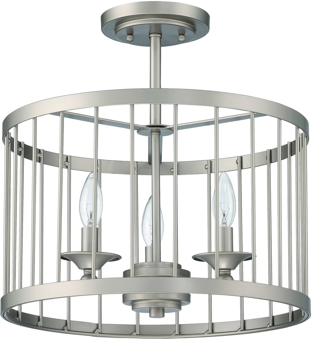 Villa 3-Light Semi Flush Satin Nickel