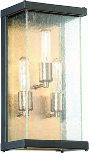 0-011455>Farnsworth 3-Light Outdoor Wall Light Midnight/Patina Aged Brass